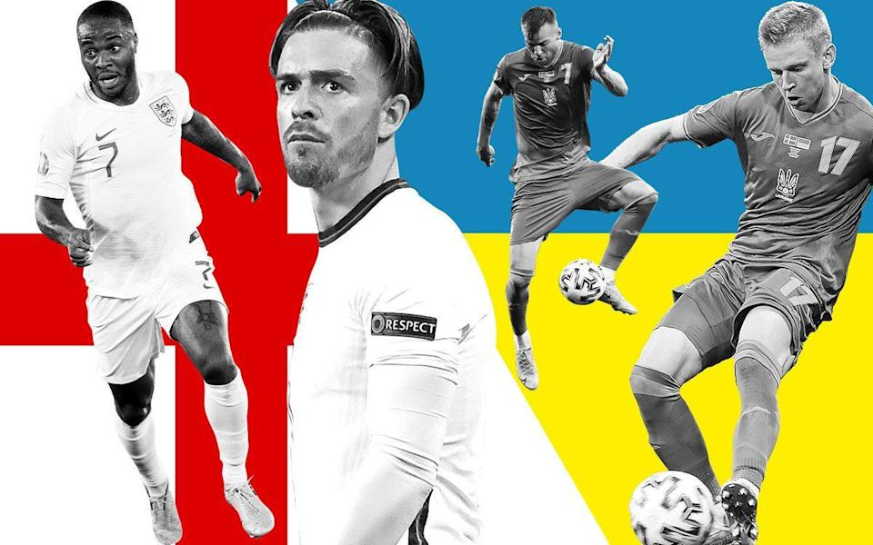 Graphic depicting England and Ukraine's star players