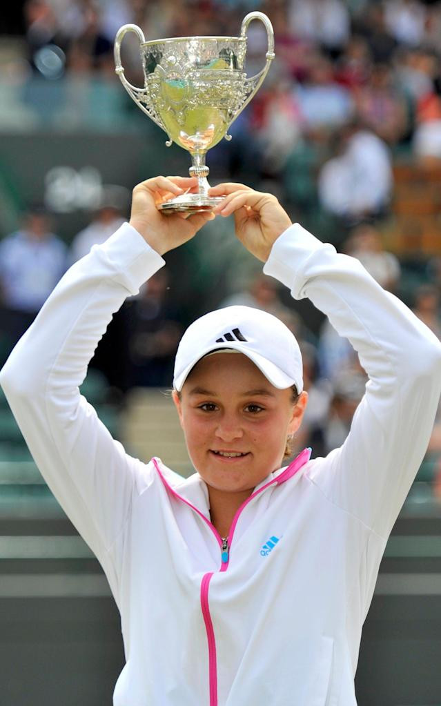 <span>Barty after winning the junior Wimbledon title in 2011</span> <span>Credit: REUTERS </span>