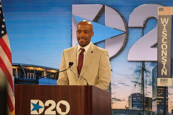 PHOTO: Wisconsin Lt. Gov. Mandela Barnes offers his state's votes to nominate former Vice President Joe Biden as the Democratic nominee for president at the 2021 Democratic National Convention at the Wisconsin Center on Aug. 18, 2021, in Milwaukee. (Gabriela Bhaskar-Pool/Getty Images)