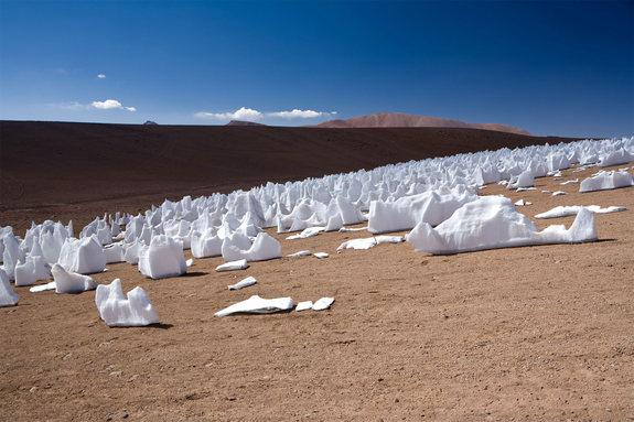 This photo of penitentes, ice formations formed in high-altitude regions, was taken in December 2005 along the Chajnantor plain in Chile.