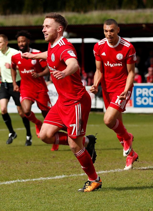 "Soccer Football - League Two - Accrington Stanley v Lincoln City - Wham Stadium, Accrington, Britain - April 28, 2018 Accrington Stanley's Jordan Clark celebrates scoring their first goal Action Images/Andrew Boyers EDITORIAL USE ONLY. No use with unauthorized audio, video, data, fixture lists, club/league logos or ""live"" services. Online in-match use limited to 75 images, no video emulation. No use in betting, games or single club/league/player publications. Please contact your account representative for further details."