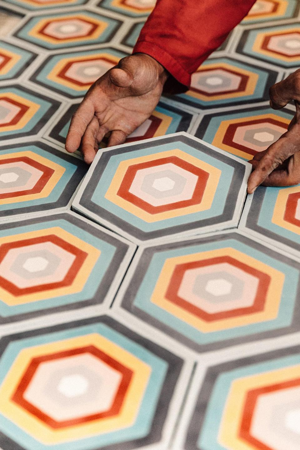 The atelier for Popham Design, with tiles inspired by Berber color patterns