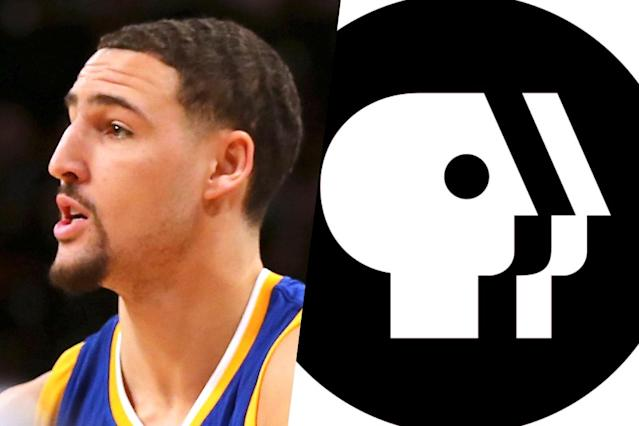 <p>American basketball player Klay Thompson (left) and the PBS logo (right). </p>