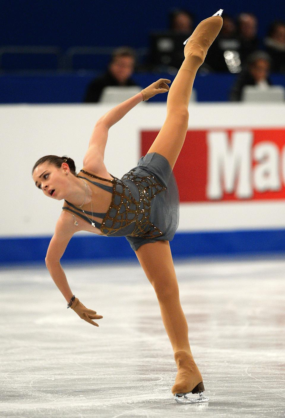 Russia's Adelina Sotnikova performs on ice of 'SYMA' sports hall in Budapest on January 17, 2014 during the free skating programme for women category of the ISU European Figure Skating Championships. (ATTILA KISBENEDEK/AFP/Getty Images)