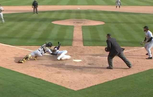 Pirates catcher Francisco Cervelli appears to tag Detroit's Nick Castellanos just before he touched home. (MLB.TV)