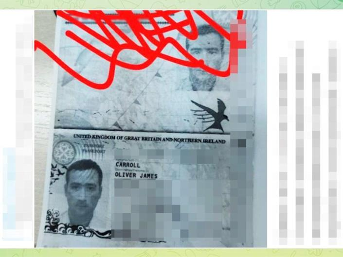 Oliver Carroll's passport details were shared in a public channel in the Telegram messaging app. The Independent blurred details to protect privacy  (Oliver Carroll; The Independent )