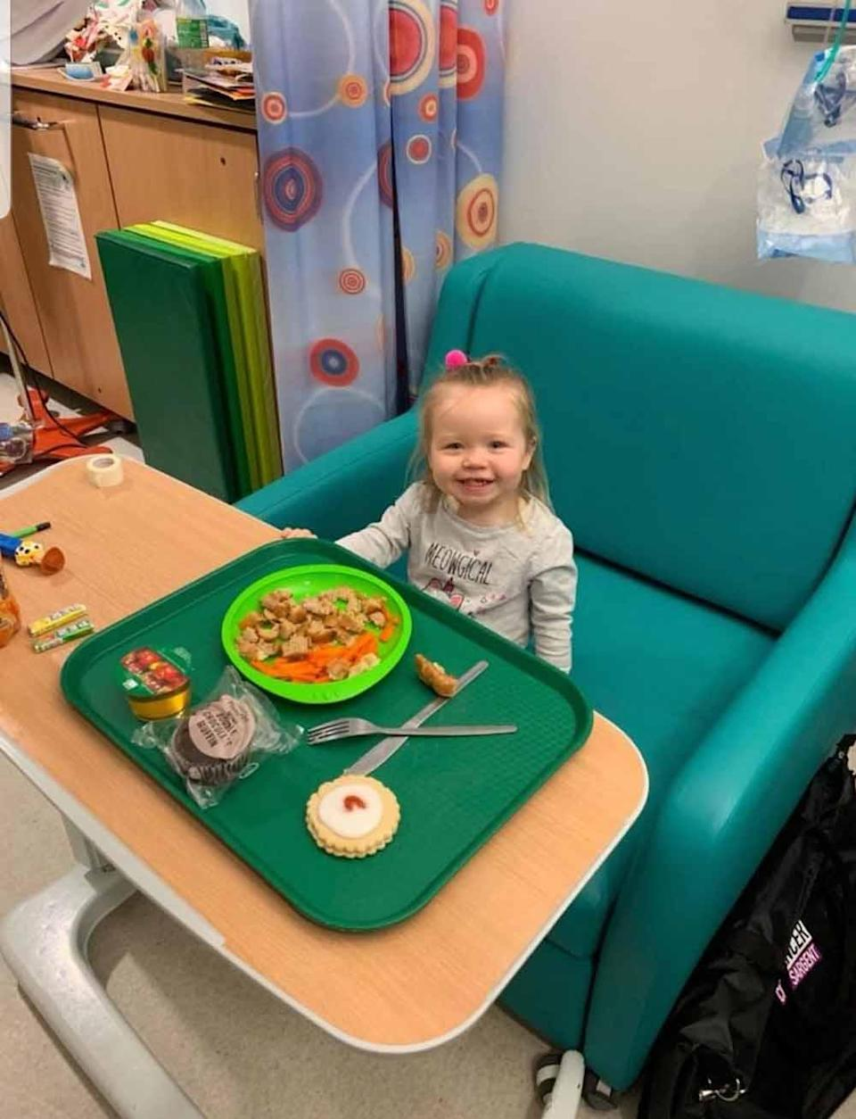 Evie after her first round of chemotherapy. PA REAL LIFE COLLECT