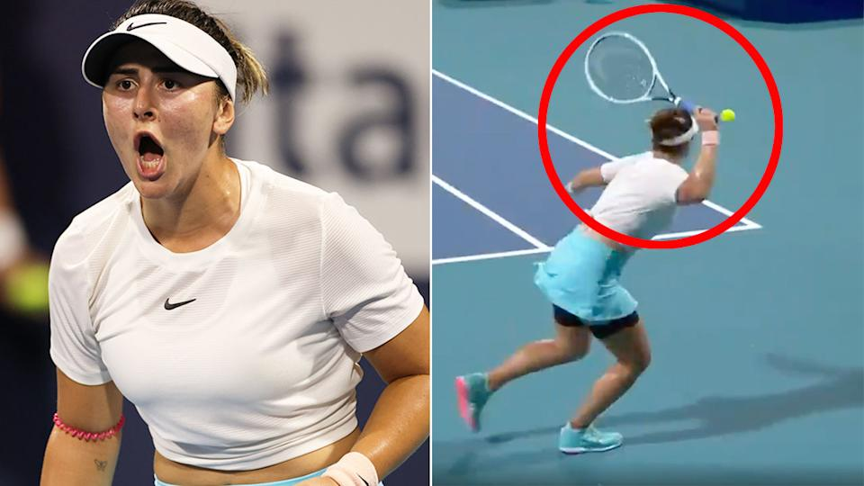 Pictured here, the incredible forehand winner that Bianca Andreescu hit in Miami.