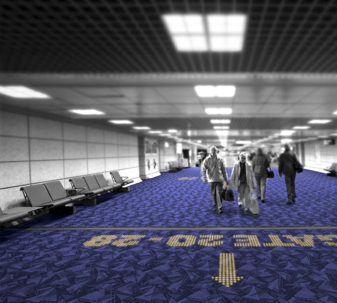 In this computer-generated image made available by Royal Philips NV, Monday, Nov. 18, 2013, an LED sign in a carpet indicates a boarding gate in a fictional airport environment. That option is on its way as two European companies, Philips and carpet-maker Desso have developed a system in which colored LEDs are combined with specialized carpets to make tailored hotel signs or directions to airport boarding gates that appear underfoot instead of on walls. (AP Photo/Philips)