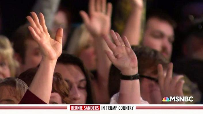A show of hands and a reminder of the human toll of opioid addiction. (MSNBC)