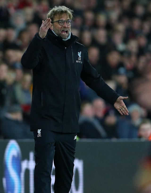 <p>Jurgen Klopp issues instructions from the sidelines (Getty Images) </p>