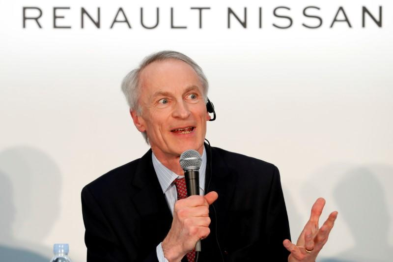 Renault, Nissan and Mitsubishi chiefs hold a news conference in Yokohama