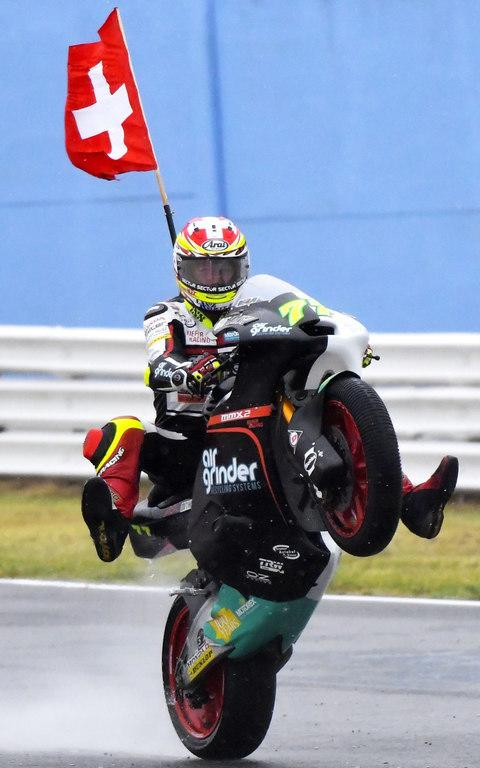 Dominique Aegerter celebrates his victory at Misano - Credit: MARCO BERTORELLO /AFP