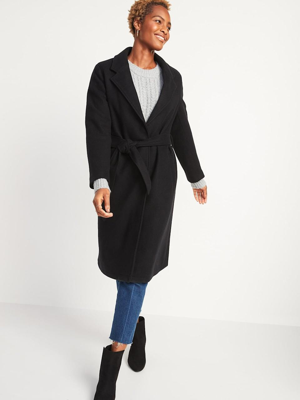 <p><span>Old Navy Oversized Soft-Brushed Tie-Belt Coat</span> ($28, originally $100)</p>
