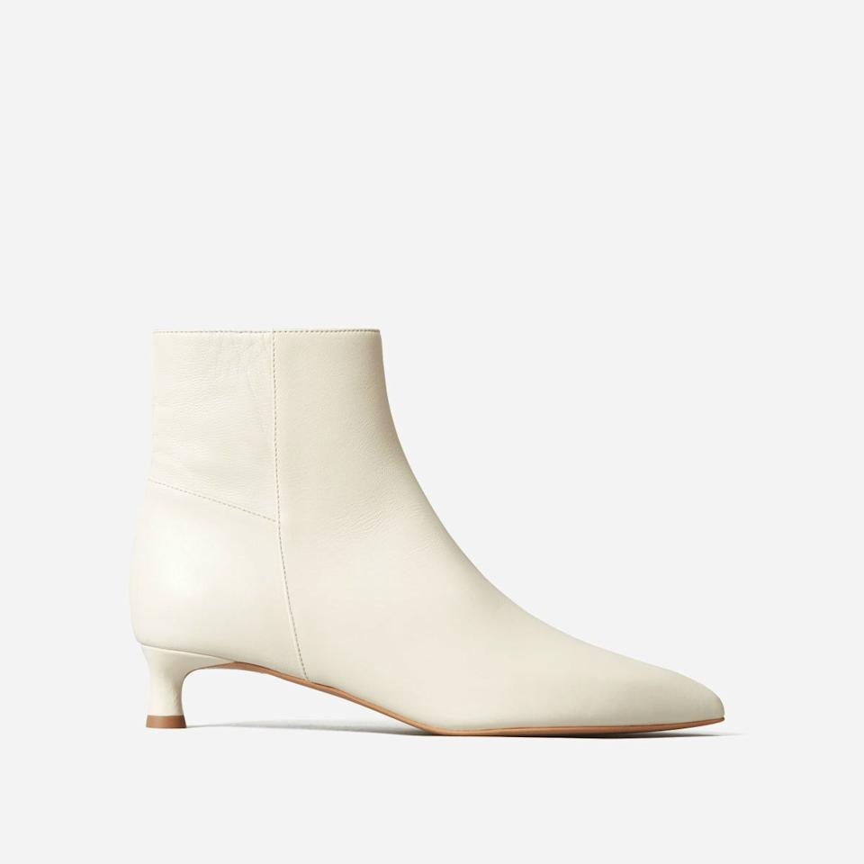 "These of-the-moment, handmade-in-Italy bone booties are practical and perfect for pairing with cropped jeans, midi skirts, and maxidresses all year round. $225, Everlane. <a href=""https://www.everlane.com/products/womens-editor-boot-bone"">Get it now!</a>"