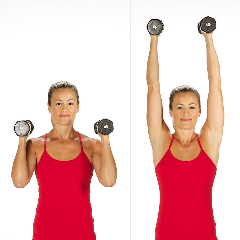 <ul> <li>Stand with your feet hip-distance apart, holding a dumbbell in each hand just above your shoulders, palms facing in.</li> <li>Straighten your arms above you.</li> <li>Bend your elbows, coming back to the starting position.</li> <li>This completes one rep.</li> </ul>