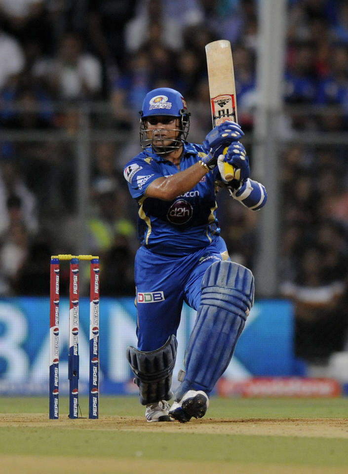 Sachin Tendulkar of Mumbai Indians bats during match 62 of the Pepsi Indian Premier League ( IPL) 2013  between The Mumbai Indians and the Sunrisers Hyderabad held at the Wankhede Stadium in Mumbai on the 13th May 2013 ..Photo by Pal Pillai-IPL-SPORTZPICS ..Use of this image is subject to the terms and conditions as outlined by the BCCI. These terms can be found by following this link:..https://ec.yimg.com/ec?url=http%3a%2f%2fwww.sportzpics.co.za%2fimage%2fI0000SoRagM2cIEc&t=1493437708&sig=4_oNW7XNRhL9HhVsq51ZLA--~C