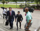 Victor Hugo Cuevas, a 26-year-old linked to a missing tiger named India, arrives at the Fort Bend County Justice Center for a bond revocation hearing on a separate murder charge, on Friday, May 14, 2021, in Richmond, Texas. (Godofredo A. Vásquez/Houston Chronicle via AP)