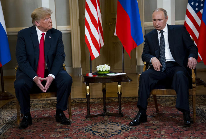 President Donald Trump meets with Russian President Vladimir Putin at the The Presidential Palace in Helsinki, July 16, 2018. (Doug Mills/The New York Times)