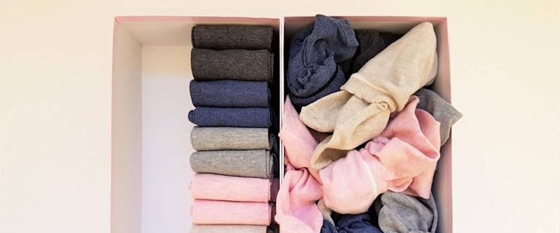 Neatly organized and not so organized socks