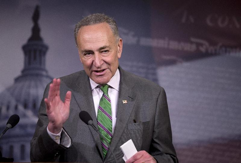 Sen. Charles Schumer, D-N.Y., speaks to reporters on Capitol Hill in Washington, Wednesday, April 2, 2014, about the Supreme Court decision in the McCutcheon vs. FEC case, in which the Court struck down limits in federal law on the aggregate campaign contributions individual donors may make to candidates, political parties, and political action committees. (AP Photo/Manuel Balce Ceneta)