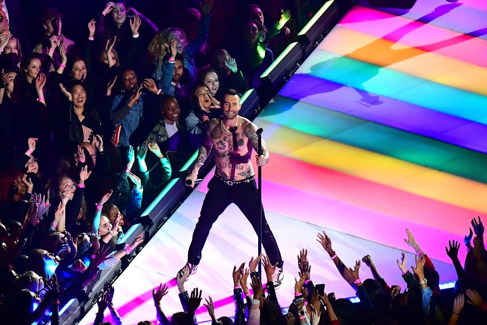 <p>Adam Levine of Maroon 5 performs during the Pepsi Super Bowl LIII Halftime Show at Mercedes-Benz Stadium on February 03, 2019 in Atlanta, Georgia. (Photo by Scott Cunningham/Getty Images) </p>