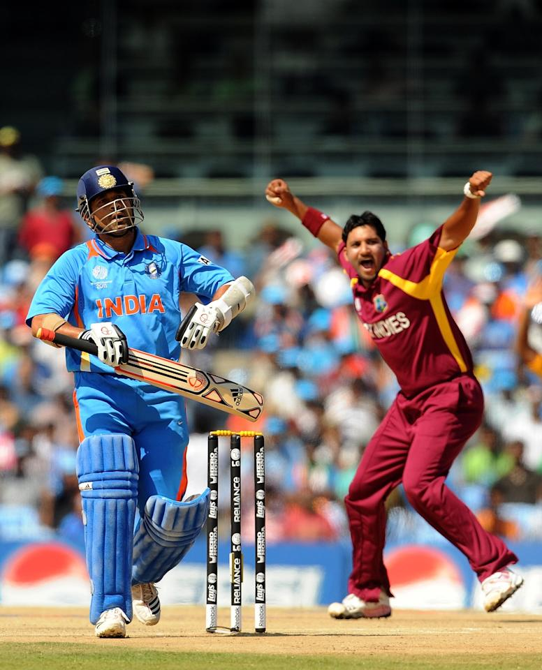 March 20, 2011: Sachin Tendulkar c Devon Thomas b Ravi Rampaul 2 (4) in a Group B match of the World Cup at Chennai. India scored 268 thanks to Yuvraj Singh's 123-ball 113, who also took 2-18 in his four overs as the co-hosts won by 80 runs. (PRAKASH SINGH/AFP/Getty Images)