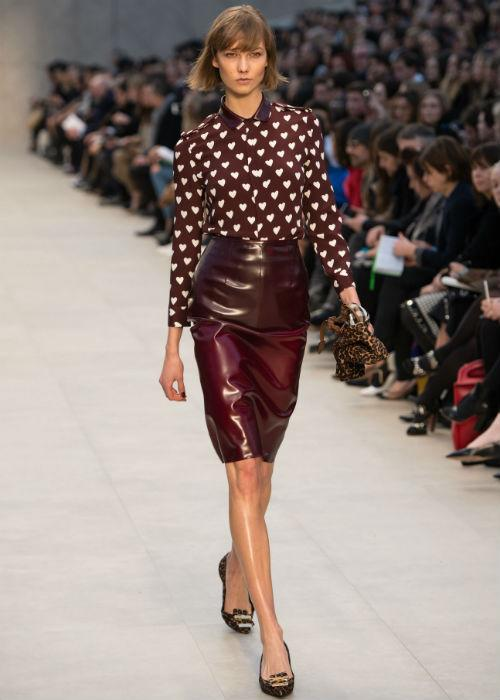 <p><strong>Leather: </strong> Yet another trend that has been seen both on and off the runways is leather.  Skirts, dresses, tops, shoes, the versatile leather makes a classic statement for 2013. Karlie Kloss walks the runway during the Burberry Prorsum show during London Fashion Week Fall/Winter 2013/14 at Kensington Gardens on February 18, 2013 in London, England.</p>