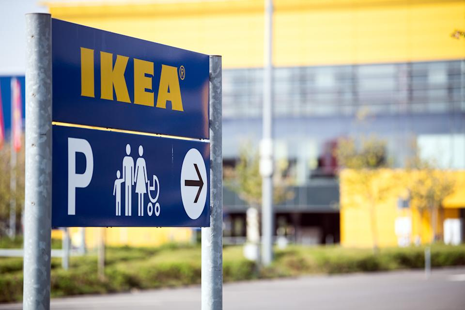 17 April 2020, North Rhine-Westphalia, Cologne: A sign points out the family parking spaces at an Ikea furniture store. The furniture giant Ikea will be allowed to reopen its stores from next week after the exemption in North Rhine-Westphalia. Photo: Federico Gambarini/dpa (Photo by Federico Gambarini/picture alliance via Getty Images)