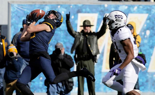 West Virginia wide receiver David Sills V projects to be a Day 2 or 3 draft prospect in the NFL. (AP)
