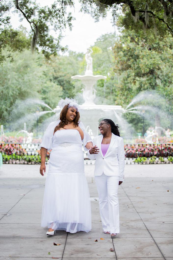 &quot;Carmen and Natalie were married July 17 at Forsyth Park in Savannah, Georgia.&quot; -- <i><a href=&quot;https://www.savannahcustomweddings.com/&quot; target=&quot;_blank&quot;>wedding officiant&amp;nbsp;Tracy Brisson</a></i>