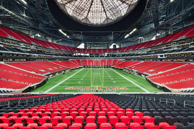 The intricate roof, high above the field. (Courtesy Mercedes-Benz Stadium.)