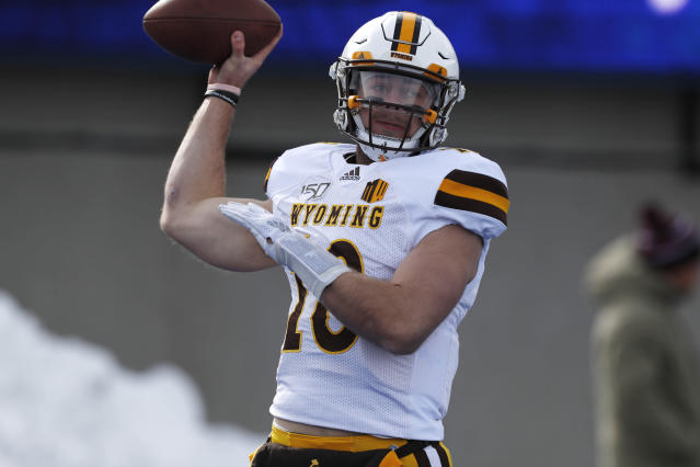 Wyoming quarterback Tyler Vander Waal warms up before an NCAA college football game against Air Force, Saturday, Nov. 30, 2019, at Air Force Academy, Colo. (AP Photo/David Zalubowski)