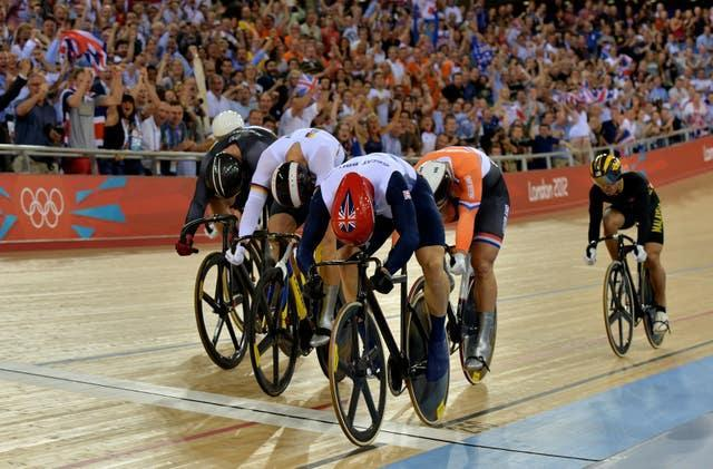 Hoy, front right, won his sixth Olympic gold after a thrilling finish in the men's keirin at London 2012