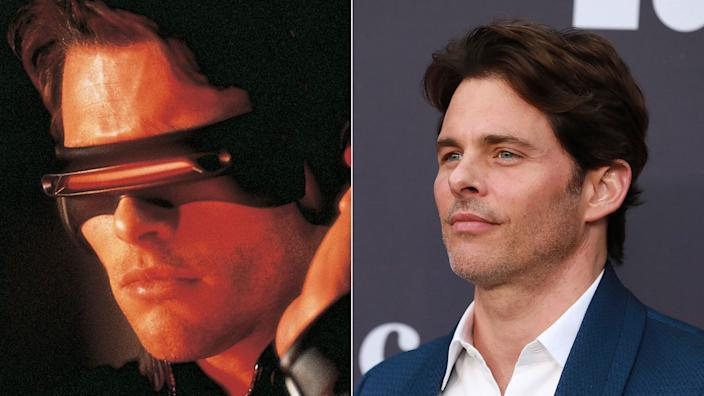 James Marsden - Cyclops - in <i>X-Men</i> and (R) at the 2019 MOCA benefit at the Geffen Contemporary, 2019.