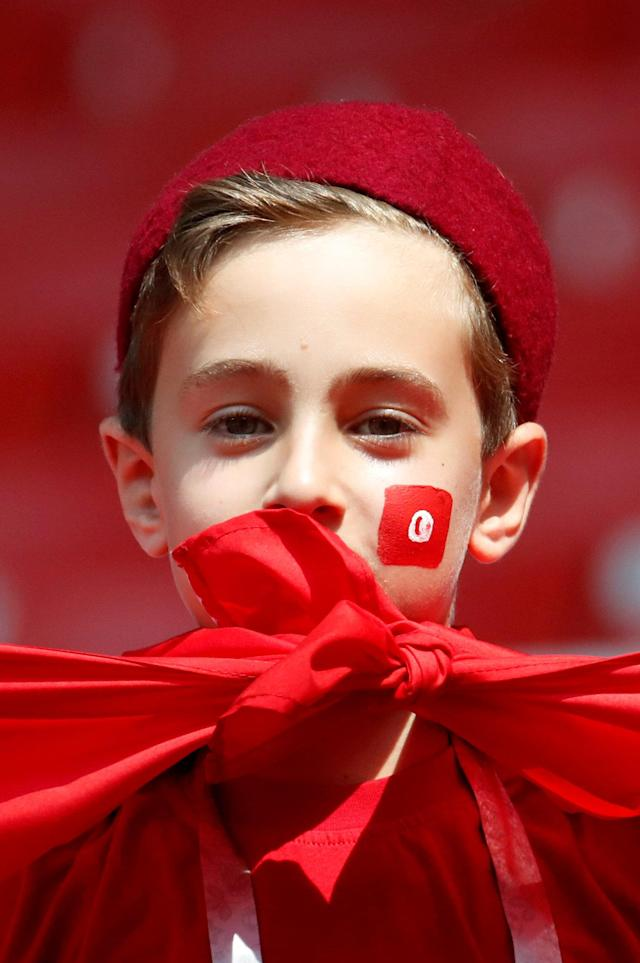 Soccer Football - World Cup - Group G - Belgium vs Tunisia - Spartak Stadium, Moscow, Russia - June 23, 2018 Tunisia fan inside the stadium before the match REUTERS/Christian Hartmann TPX IMAGES OF THE DAY