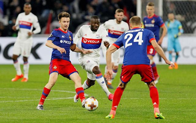 Soccer Football - Europa League Round of 16 Second Leg - Olympique Lyonnais vs CSKA Moscow - Groupama Stadium, Lyon, France - March 15, 2018 Lyon's Tanguy Ndombele in action with CSKA Moscow's Aleksandr Golovin REUTERS/Emmanuel Foudrot