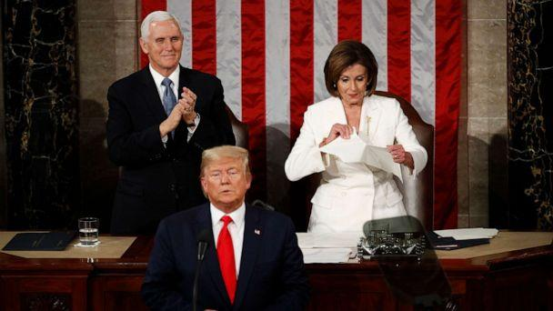 PHOTO: House Speaker Nancy Pelosi tears her copy of President Donald Trump's State of the Union address after he delivered it to a joint session of Congress on Capitol Hill in Washington, Feb. 4, 2020. (Patrick Semansky/AP, FILE)