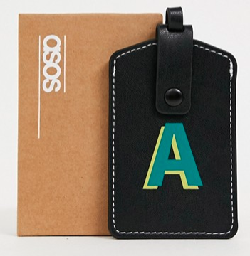 ASOS personalised faux leather luggage tag in black with 'A' initial - $20