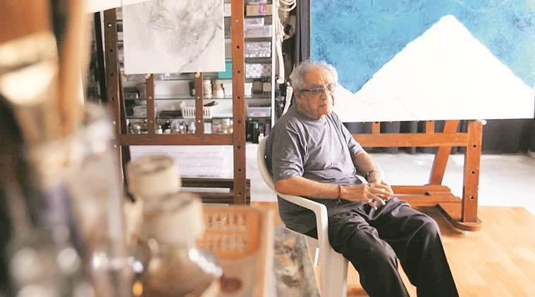 Akbar Padamsee, MF Husain, MF Husain's painting, artist Akbar Padamsee, brush paintings, art and culture, indian express talk, indian express news