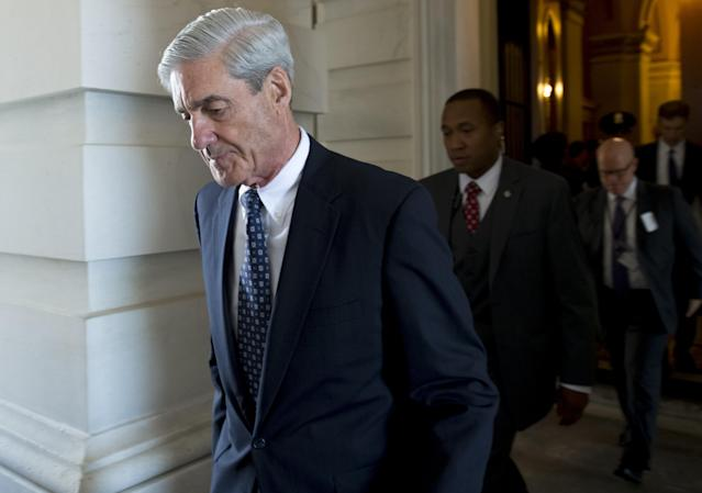 Former FBI Director Robert Mueller, special counsel on the Russian investigation, after meeting with members of the Senate Judiciary Committee, June 21, 2017. (Photo: Saul Loeb/AFP/Getty Images)