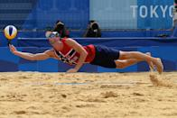 <p>Norway's Anders Berntsen Mol reaches for the ball in their men's beach volleyball quarter-final match between Russia and Norway during the Tokyo 2020 Olympic Games at Shiokaze Park in Tokyo on August 4, 2021. (Photo by Martin BERNETTI / AFP)</p>