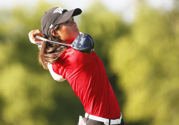 Celine Boutier, of France, plays her shot from the ninth tee during the second round of the LPGA Volunteers of America Classic golf tournament in The Colony, Texas, Friday, July 2, 2021. (AP Photo/Ray Carlin)