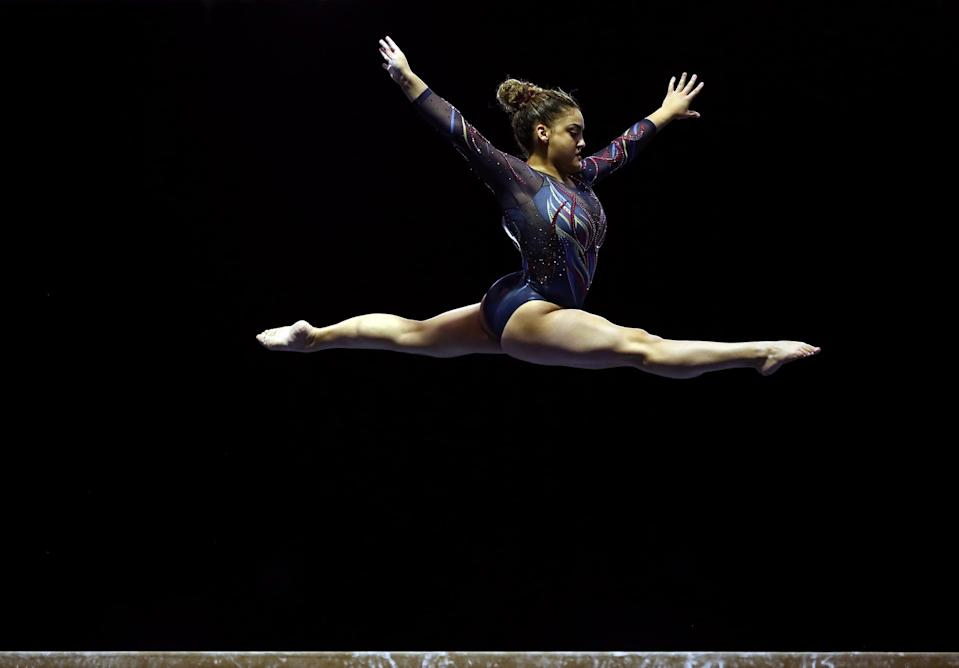INDIANAPOLIS, INDIANA - FEBRUARY 27:  Laurie Hernandez competes on the balance beam during the Senior Women's 2021 Winter Cup at the Indiana Convention Center on February 27, 2021 in Indianapolis, Indiana. (Photo by Jamie Squire/Getty Images)