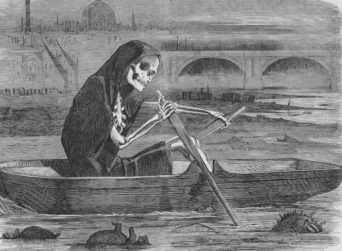 """""""The Silent Highwayman"""" (1858). Death rows on the Thames, claiming the lives of victims who have not paid to have the river cleaned up."""