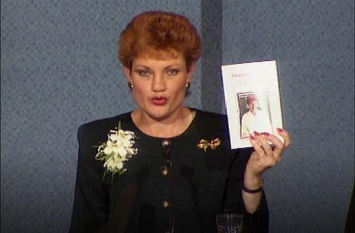 Hanson recommending that people buy her book in 1997. Source: SBS.