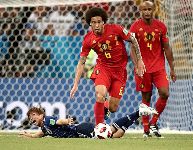 <p>Japan's Takashi Inui and Belgium's Axel Witsel, Vincent Kompany (L-R) in action in their 2018 FIFA World Cup Round of 16 football match at Rostov Arena Stadium. Valery Sharifulin/TASS (Photo by Valery Sharifulin\TASS via Getty Images) </p>