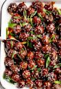 "<p>These glazed beauties take only 15 minutes to throw together, and come in a tasty and original sauce made from sesame oil, ginger, hoisin sauce and a few other easy ingredients.</p><p><em><span class=""redactor-invisible-space""><a href=""https://cafedelites.com/mongolian-glazed-meatballs/"" rel=""nofollow noopener"" target=""_blank"" data-ylk=""slk:Get the recipe from Cafe Delites »"" class=""link rapid-noclick-resp"">Get the recipe from Cafe Delites »</a></span></em></p>"