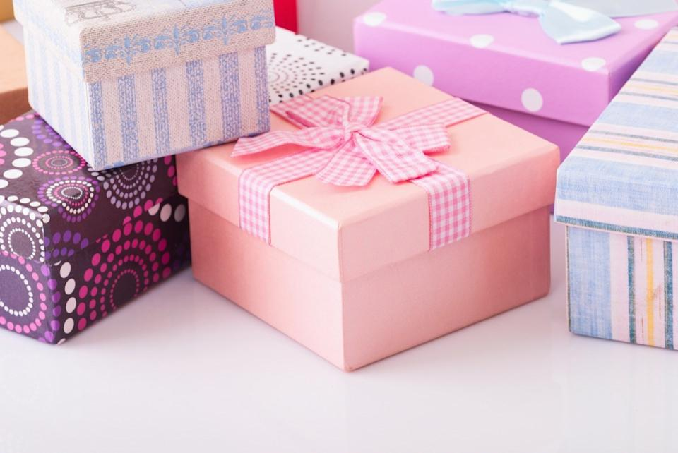 Wrapped gifts on white table