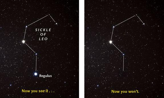 "The bright star Regulus will vanish behind the asteroid 163 Erigone for several seconds on the morning of March 20, 2014, for well-placed skywatchers. The star is located in the ""sickle"" of the constellation Leo, the Lion."